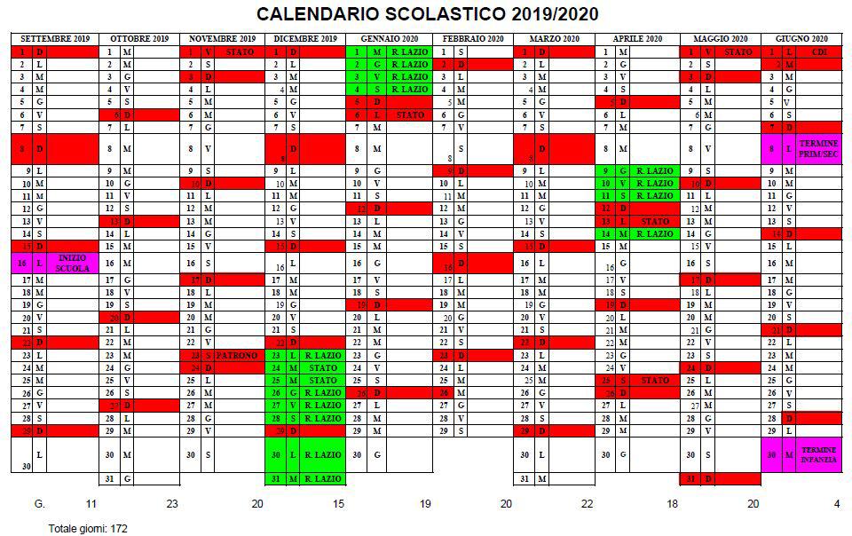 Calendario Da Settembre 2019 A Giugno 2020.Calendario Scolastico 2019 2020 Istituto Comprensivo